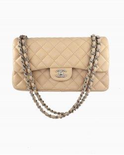 Bolsa Chanel Bege Classic Double Flap Jumbo