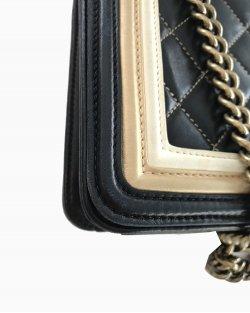 Bolsa Chanel Boy Bicolor Preto e Bege