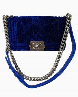 Bolsa Chanel Boy Quilt Velvet Azul