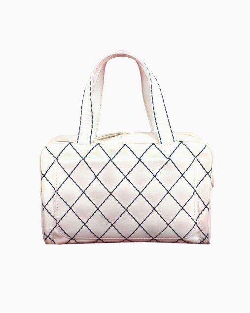 Bolsa Chanel de Couro Branco Vintage