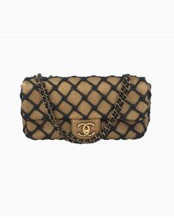 Bolsa Chanel Canebiers Flap Dourada