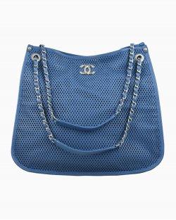 Bolsa Chanel Couro Perfurado Azul