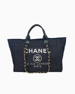Bolsa Chanel Deauville Large Azul Marinho