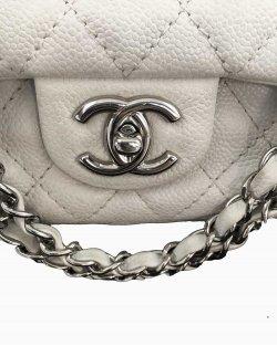 Bolsa Chanel Double Flap Caviar Medium Branco
