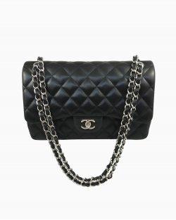 Bolsa Chanel Double Flap Jumbo Lambskin Preta