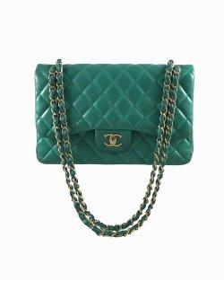 Bolsa Chanel Double Flap Lambskin Verde