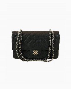 Bolsa Chanel Double Flap Média Couro Caviar
