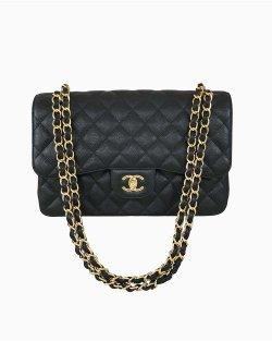 Bolsa Chanel Double Flap Preta Jumbo