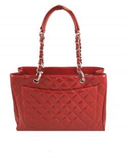 Bolsa Chanel Grand Shopper Tote Red Verniz