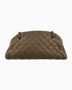 Bolsa Chanel Just Mademoiselle Couro Caviar Dourado