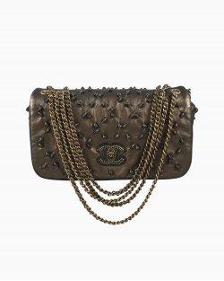 Bolsa Chanel New Chic Knot Couro Bronze