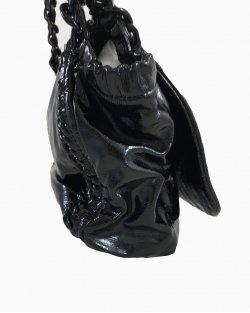 Bolsa Chanel Preta Correntes Verniz