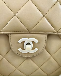 Bolsa Chanel Vintage Bege Corrente Polip.