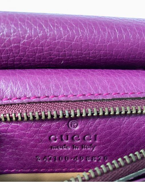 Bolsa Gucci Camellia Couro Roxo