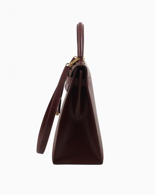 Bolsa Hermes Kelly Box Leather Vintage Burgundy