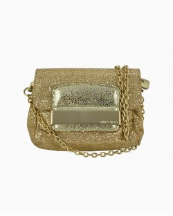 Bolsa Jimmy Choo Glitter Fabric Mini Rebel Dourada