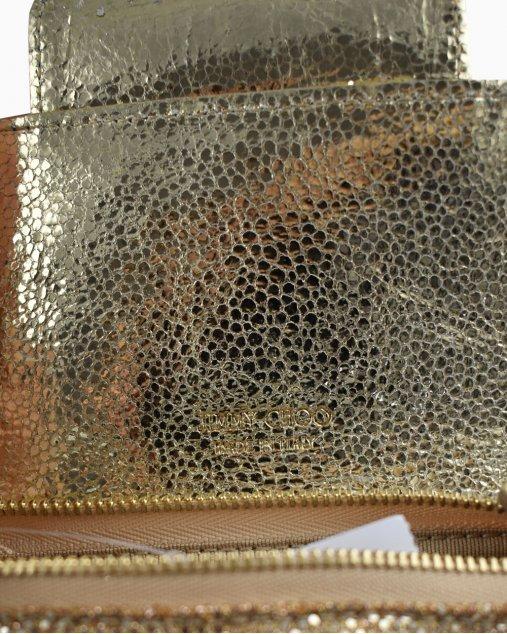 Bolsa Jimmy Choo Glitter Fabric Mini Rebel Dourada
