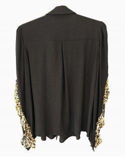 Camisa Just Cavalli preto com babado de oncinha