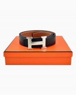 Cinto Hermès H Couro Preto