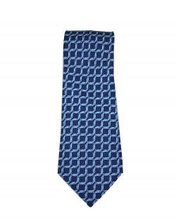 Gravata Hermès Azul Marinho Estampa Quadriculada
