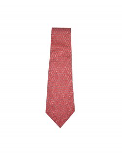 Gravata Hermès Vermelha Estampa Ferragem