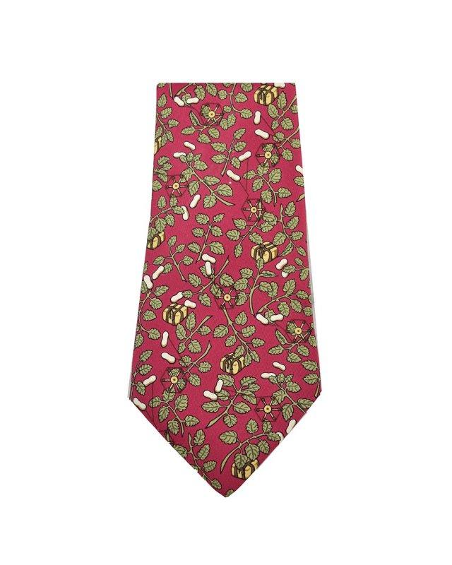 Gravata Hermès Vinho Estampa Folhas