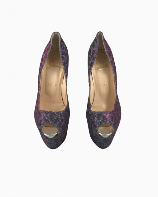 Sapato Louboutin PeepToe Lady Peep Glitter