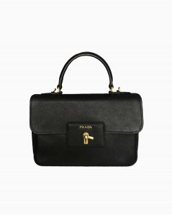 Bolsa Prada Saffiano Leather Top Handle Bag Turnlock