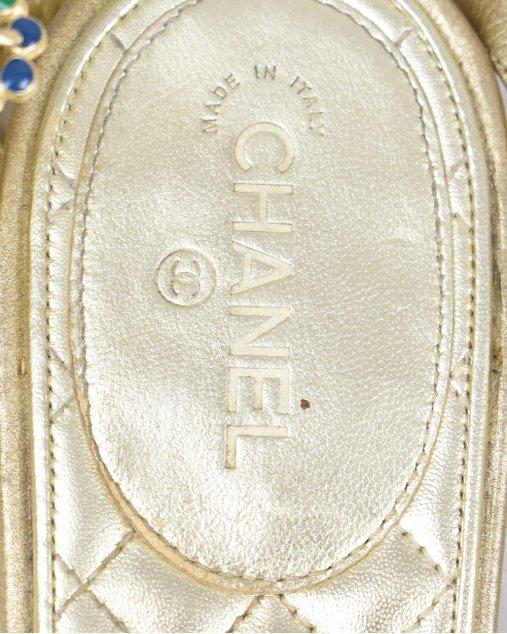 Rasteira Chanel Dourada