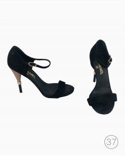 Sandália Chanel Tira Veludo Preta