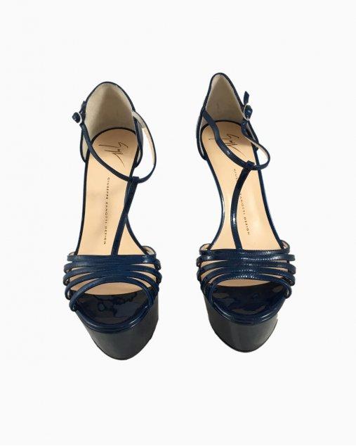 Sandália Plataforma Giuseppe Zanotti Azul Verniz