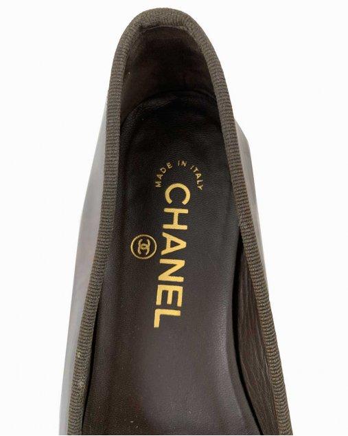 Sapatilha Chanel Verniz Marrom
