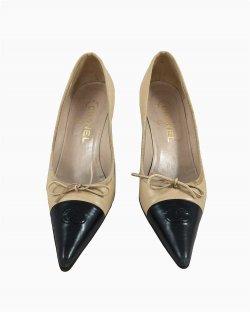 Sapato Chanel Bicolor Bege e Preto