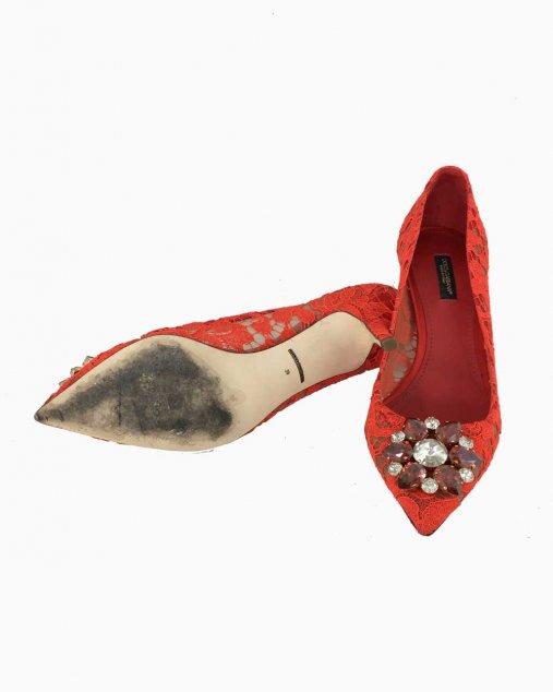 Sapato Vermelho com Renda Dolce & Gabbana