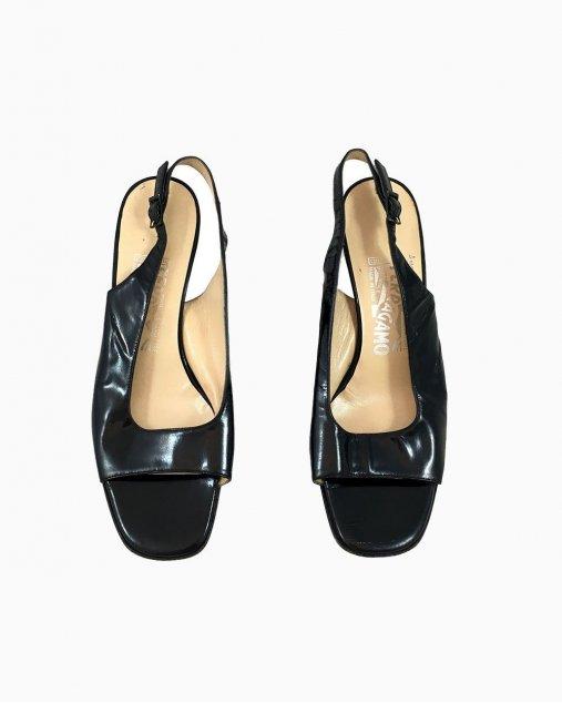 Sapato Ferragamo Preto Salto Baixo