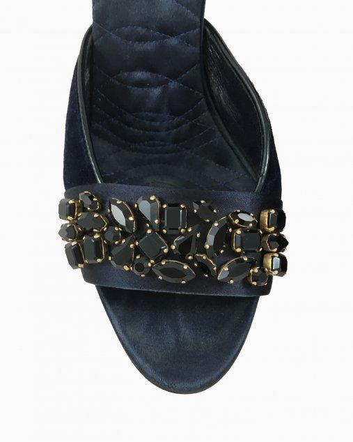 Sapato Gucci Peep Toe Veludo Azul