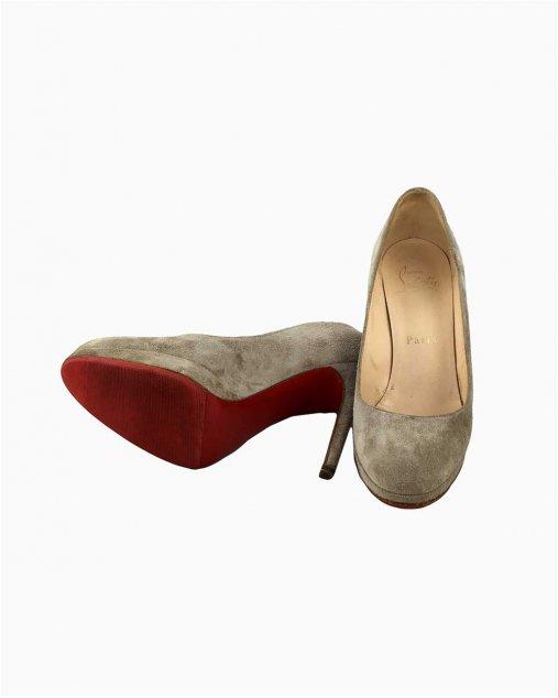 Sapato Louboutin Bege Camurça