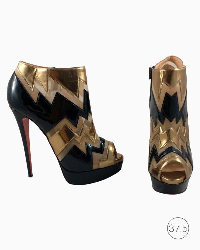 Sapato Louboutin Couro e Tela