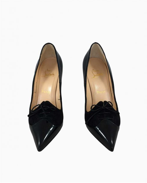 Sapato Louboutin Verniz e Camurça Preto