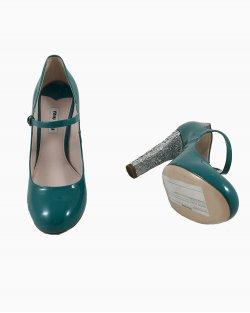 Sapato Miu Miu Couro Verniz Verde