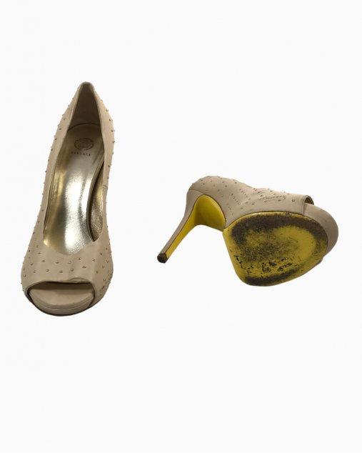 Sapato Peeptoe Versace Couro Nude