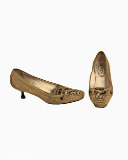 Sapatos Tod's Nude Suede Salto Midi