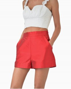 Shorts Martha Medeiros Cetim Vermelho