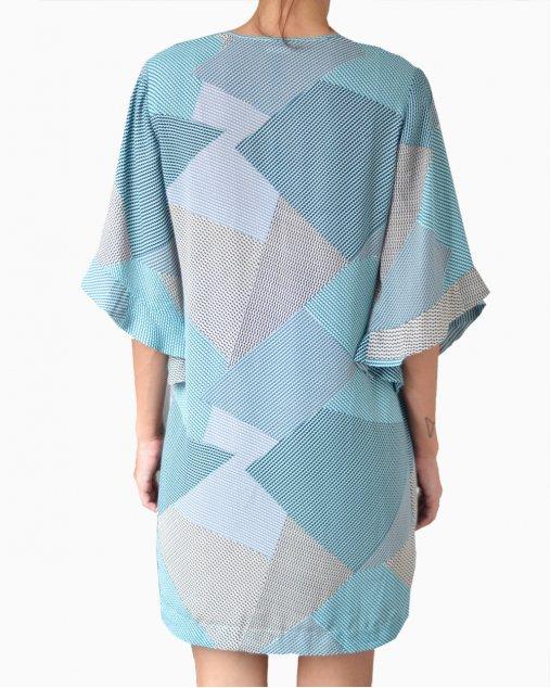 Vestido BCBG Maxazria Geométrico Azul