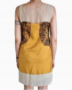 Vestido Bottega Veneta Seda Mostarda Estampado