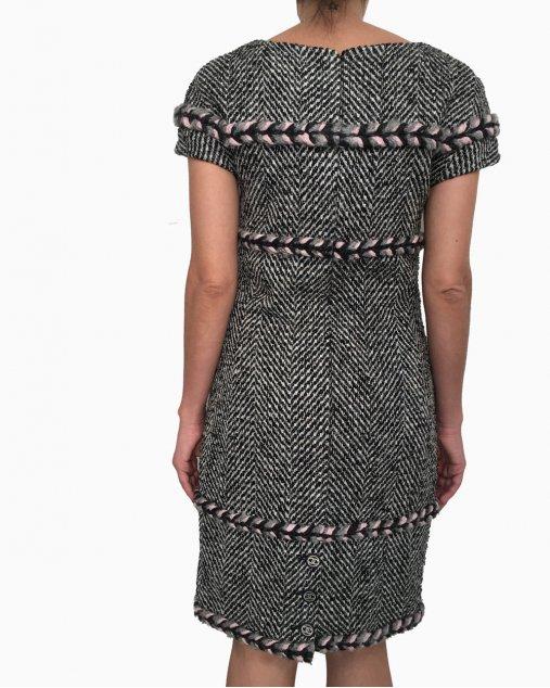 Vestido Chanel Tweed Trança Rosa