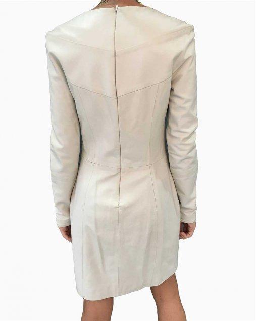 Vestido Giuliana Romanno Couro Off White