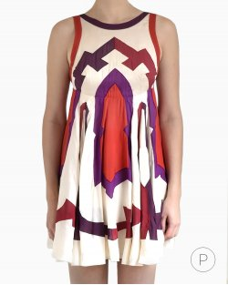 Vestido Gucci Seda Tricolor