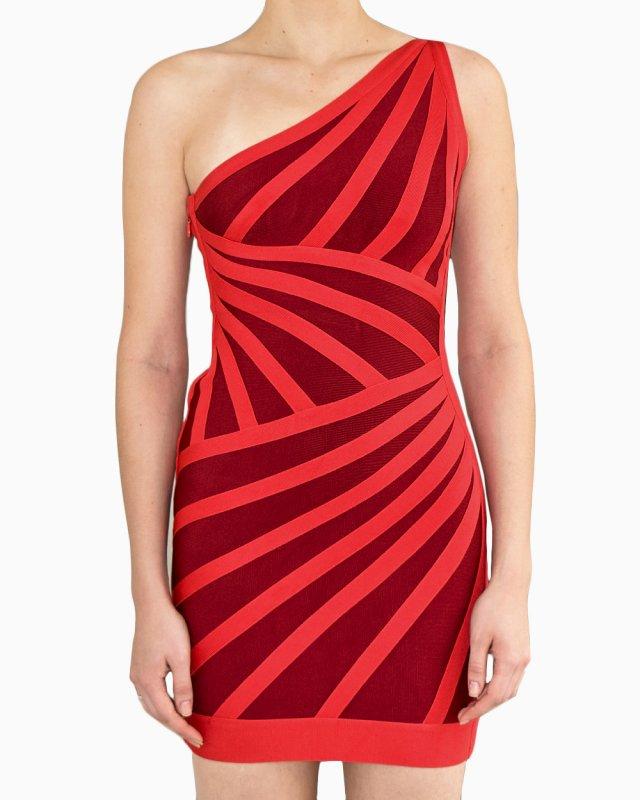 Vestido Herve Leger Bicolor Vermelho