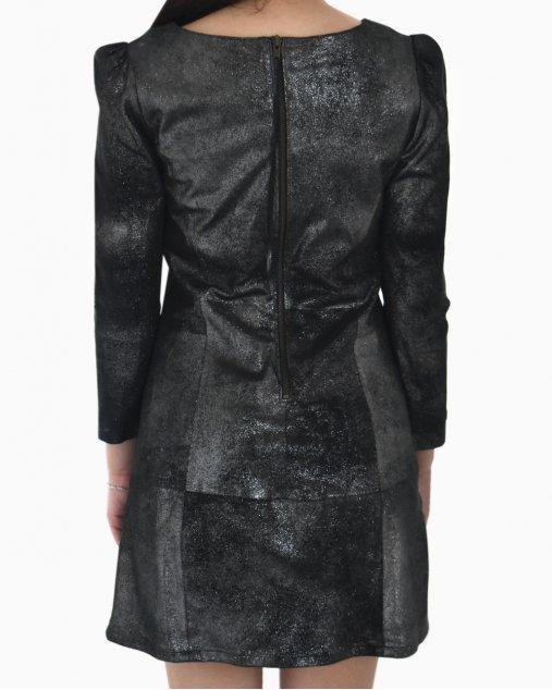 Vestido NK Couro Prata